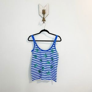 NWT J.Crew Blue & White Strap with Leaves Tank Top